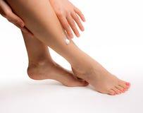 Female slender beautiful legs isolated on white background Royalty Free Stock Image