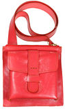 Female small red leather handbag Stock Image