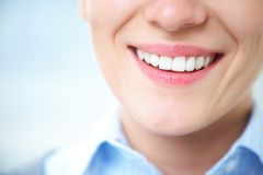 Female smile. Close-up of female smile with healthy teeth Stock Photography