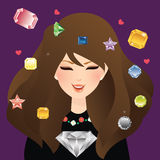 female smile with diamond crystal and gem stone Stock Photography
