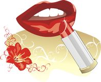 Female smile and lipstick. Decor Royalty Free Stock Photography