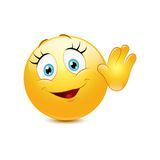 Female smiley waving hello Stock Photo