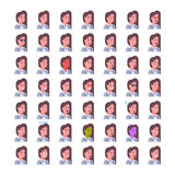 Female Smiling Emotion Icons Set Isolated Avatar Woman Facial Expression Concept Face Collection Stock Photography
