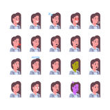 Female Smiling Emotion Icons Set Isolated Avatar Woman Facial Expression Concept Face Collection Stock Image