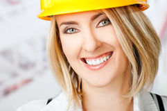 Female smiling hardhat Royalty Free Stock Photos
