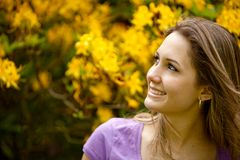 Female smiling outdoors Stock Photo