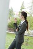 Female smoker outside Stock Image