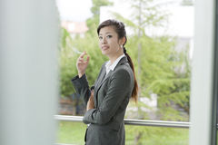 Female smoker outside Royalty Free Stock Images