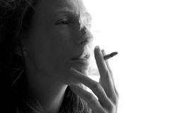 Female smoker woman with smoke cigarette Stock Photos