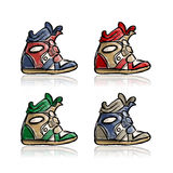 Female sneakers collection, sketch for your design Royalty Free Stock Image