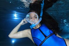 Female snorkeler. With neoprene swimsuit underwater Stock Images
