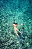 Woman snorkeling in Thailand stock photography