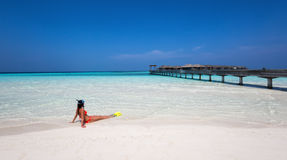 Female snorkeler watching the scene Royalty Free Stock Images