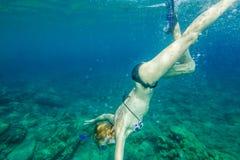 Female snorkeling Stock Image