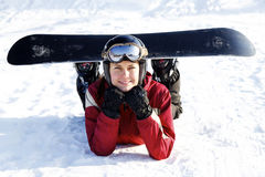 Female snowboarder Royalty Free Stock Photography