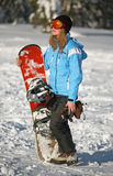 Female Snowboarder Stock Image