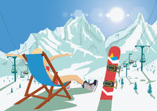 Female snowboarder in bikini sitting in deck chair relaxing in mountain ski resort. Bright sun and ski chair lift. Female snowboarder in bikini sitting in a deck Royalty Free Stock Photography