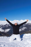 Female Snowboarder in Dolomites Royalty Free Stock Photography