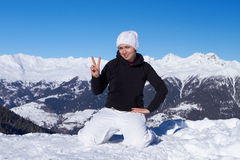 Female Snowboarder in Dolomites Royalty Free Stock Photos