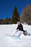 Female Snowboarder in Dolomites Stock Photo