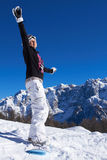 Female Snowboarder in Dolomites Stock Photos