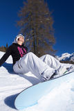 Female Snowboarder in Dolomites Stock Photography