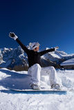 Female Snowboarder in Dolomites Stock Images