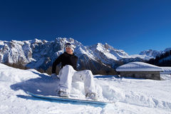 Female Snowboarder in Dolomites Royalty Free Stock Image