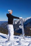 Female Snowboarder in Dolomites Royalty Free Stock Images