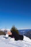 Female Snowboarder in Dolomites Stock Image