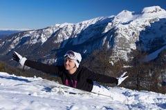 Female Snowboarder in Dolomites Royalty Free Stock Photo