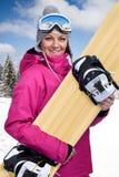 Female snowboarder Stock Photos