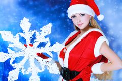 Female with snowflake Royalty Free Stock Photography