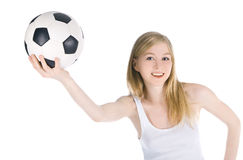 Female with soccer ball on white background Stock Photography