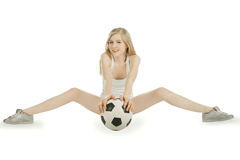 Female with soccer ball on white background Royalty Free Stock Images
