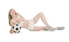 Female with soccer ball on white background Royalty Free Stock Photo
