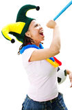 Female soccer fan Royalty Free Stock Images