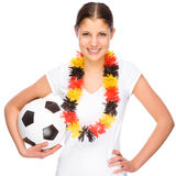 Female soccer fan Royalty Free Stock Photos