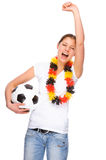 Female soccer fan Stock Images