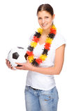 Female soccer fan Stock Image