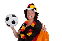 Female soccer fan with ball Stock Photos