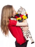 Female soccer fan with bengal cat Stock Photography