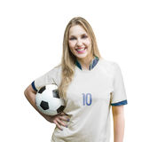 Female soccer fan on white and blue uniform on white background Royalty Free Stock Photos