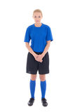 Female soccer player in blue uniform standing isolated on white Stock Image