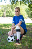 Female soccer player. Close up of female soccer player royalty free stock image