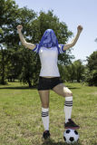 Female soccer player. Close up of female soccer player royalty free stock photo