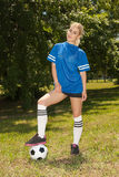 Female soccer player. Close up of young female soccer player royalty free stock image