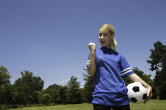 Female soccer player. Close up of young female soccer player royalty free stock images