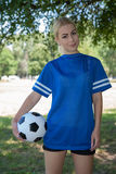 Female soccer player on the field. Portrait of female soccer player on the field stock photos