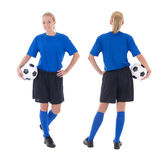 Female soccer player isolated on white Royalty Free Stock Photography
